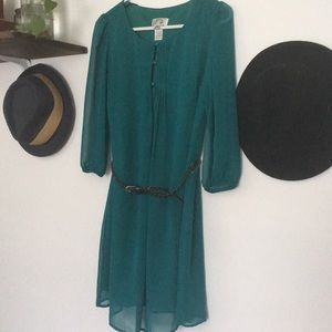 Sweet Storm Teal belted dress